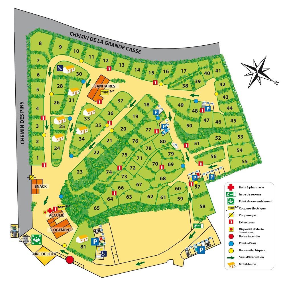 plan Camping les Ramiers Longeville/mer