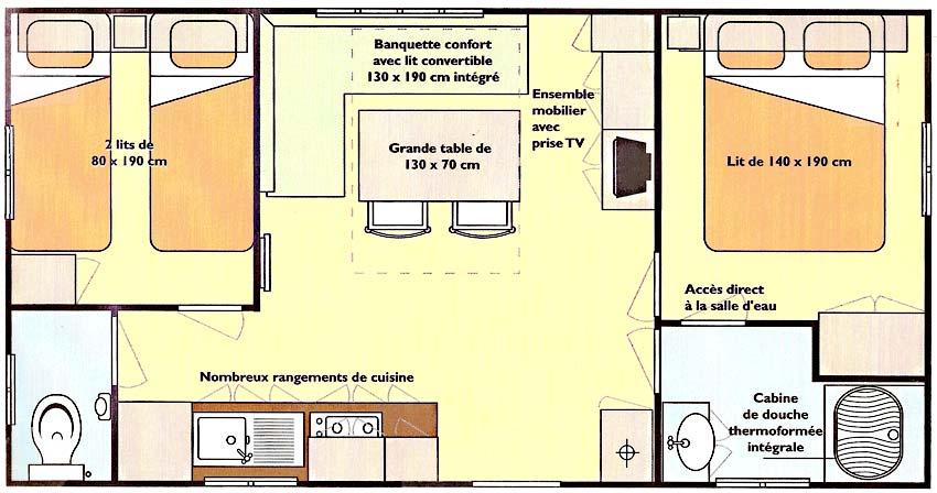 plan location mobilhome 4 - 6 personnes Vendée